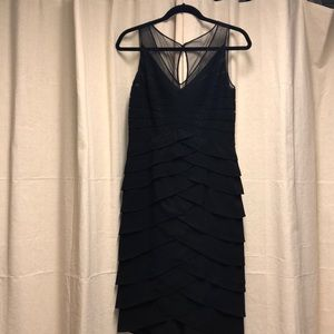 Black Adrianna Papell scallop style cocktail dress